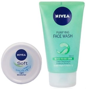 Amazon - Buy Nivea Soft Light Moisturising Cream, 300ml with Nivea Purifying Facewash, 150ml at Rs 299 only