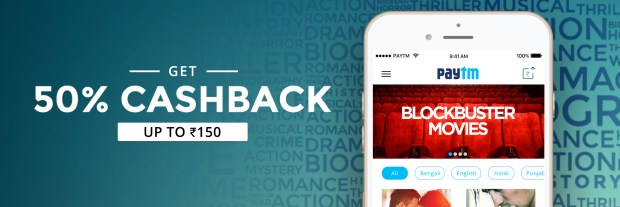 PayTM- Book Movie Tickets and Get Flat 50% Cashback Up to Rs 150