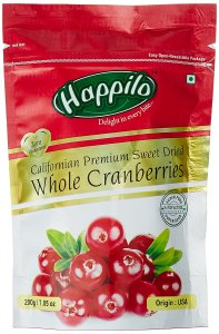Happilo Premium Californian Dried and Sweet Whole Cranberries, 200g for Rs 199