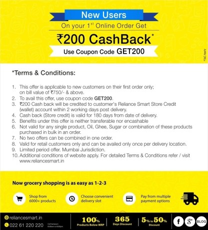 Reliance Mart- 1Get Flat Rs 200 cashback on your First order worth Rs 750