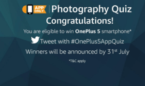 amazon app photography quiz contest win oneplus 5
