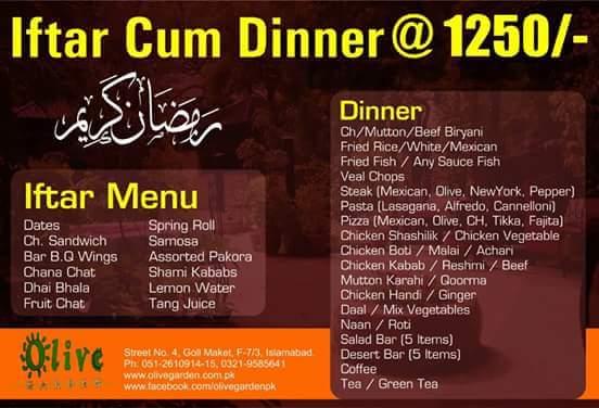 Deals in Pakistan Olive Garden Islamabad