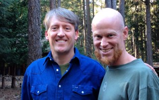 Eric McDavid with the author at the McDavid family home in the Sierras a few days after his release in January 2015.