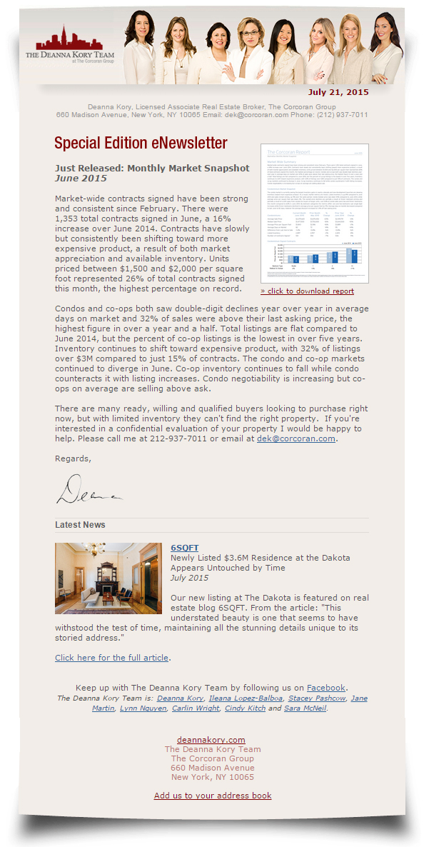 Newsletters - The Deanna Kory Team - New York Residential Real