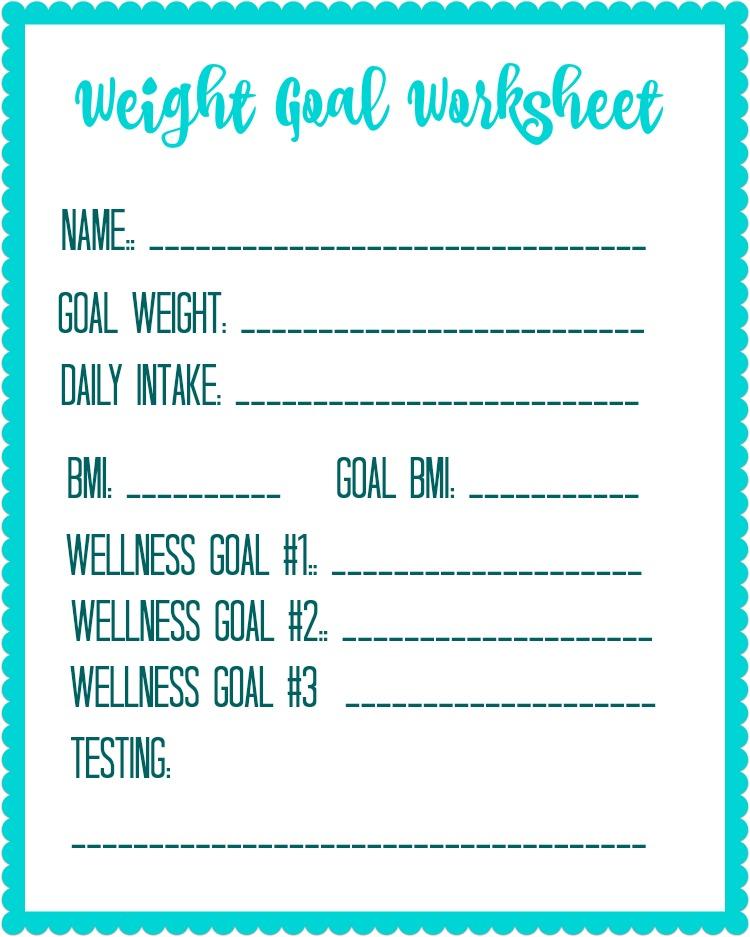 Free Printable Weight Loss Goal Worksheet - Debt Free Spending
