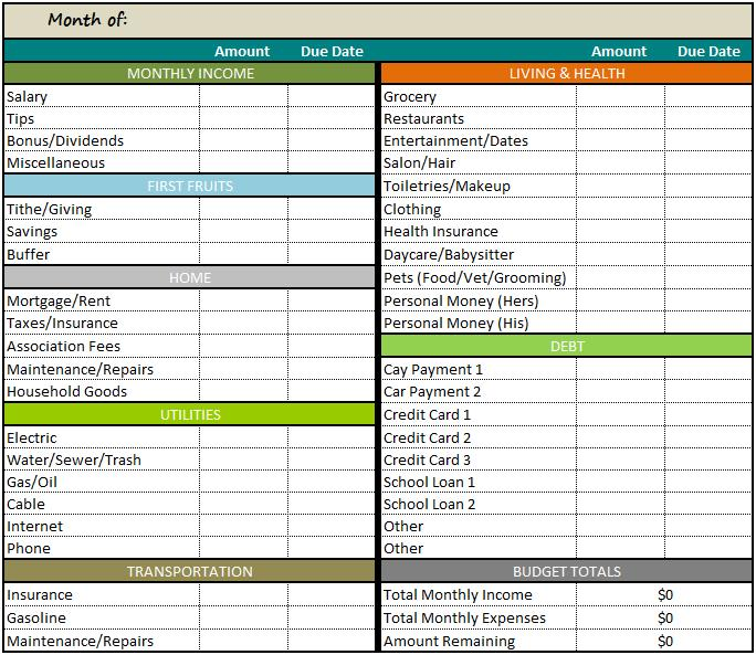 Budgeting Forms Archives - Debt To Life - debt management excel template