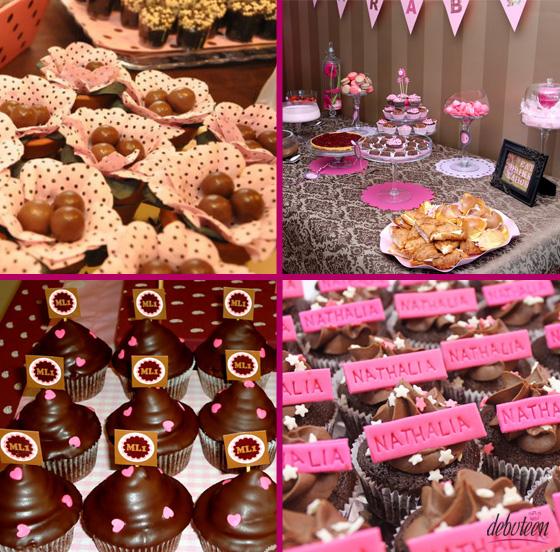 festa rosa e marrom