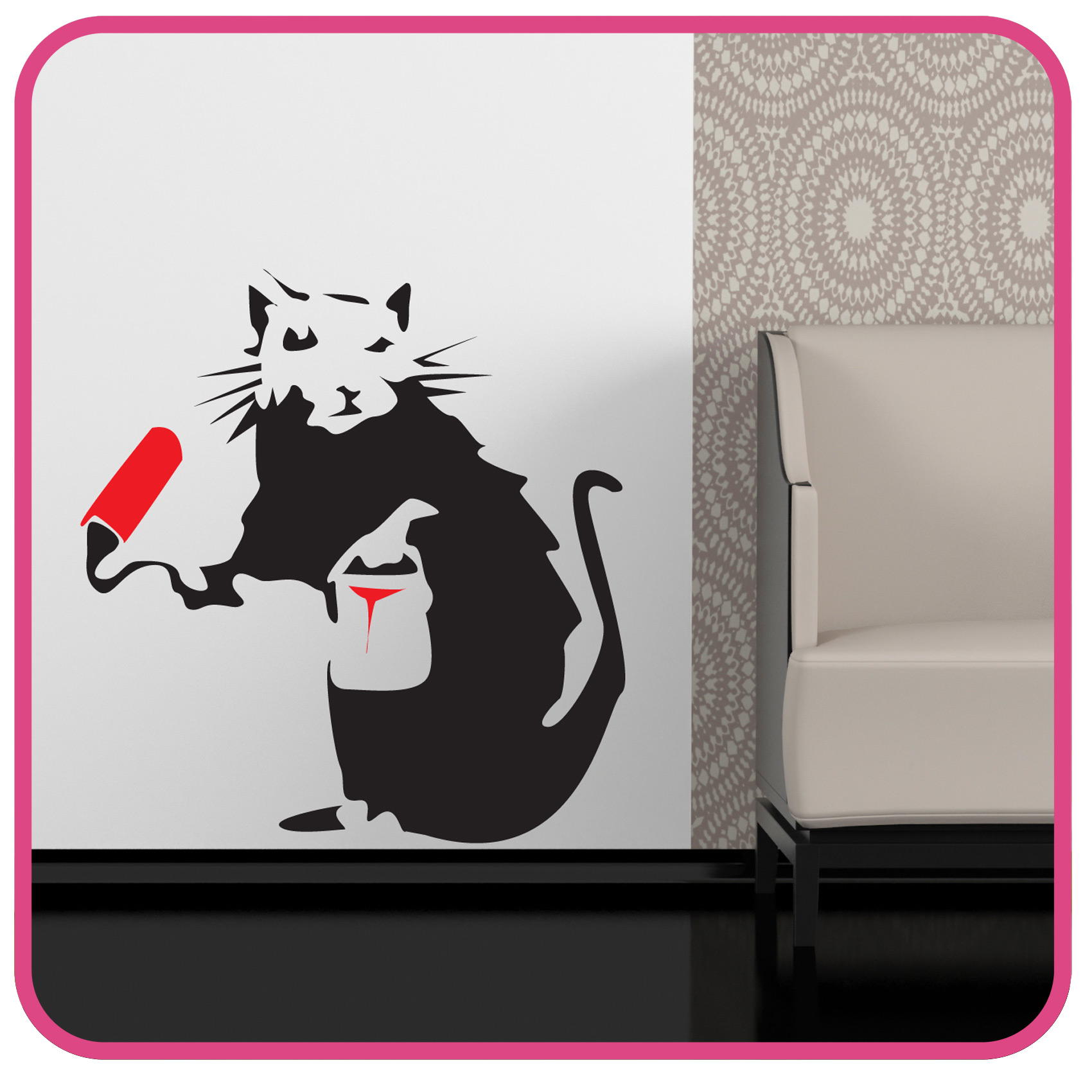 Details about banksy style painting rat wall art sticker decal