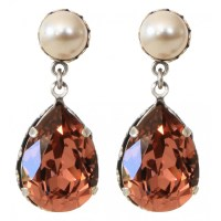 Swarovski Crystal Drop Earrings Pink and Swarovski Cream ...