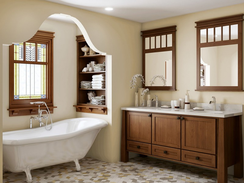 Craftsman Style Bathroom Playing With Tiles And Natural Color   Craftsman  Style Bathroom