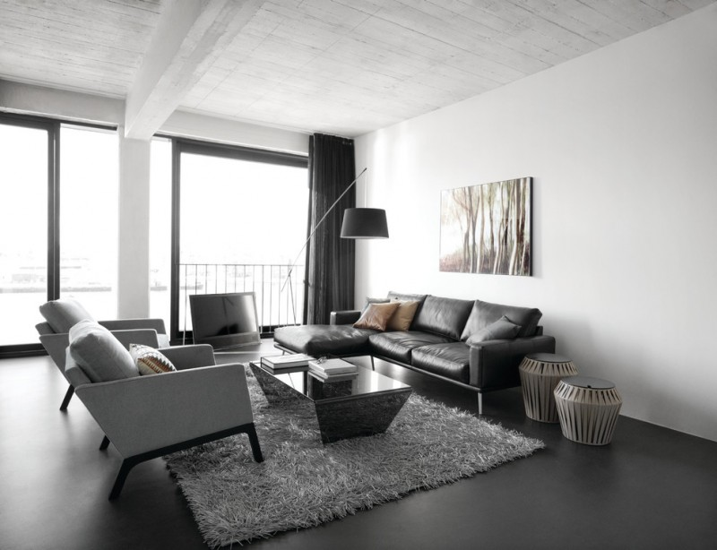 Be Simple yet Modern with These Black and White Living Room Sets - gray leather living room sets