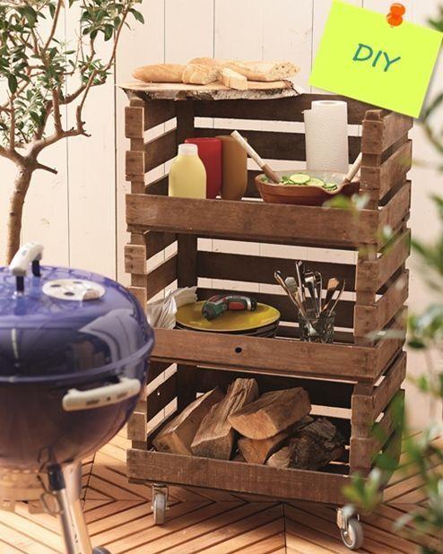 Mueble auxiliar diy hecho con cajas de madera para el - Mueble de bano de madera ...