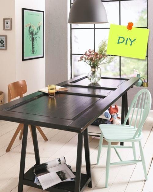 Transformar una vieja puerta en mesa de comedor decomanitas - Puertas de comedor ...