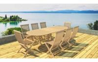 Table de jardin ovale avec rallonge en teck massif + 8 chaises