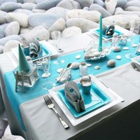 Beach Pebbles Table Decoration in White and Turquoise Colors