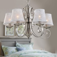 5-Light Silver Iron Modern Chandelier with Fabric Shades ...