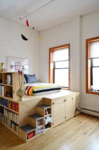An Elevated Bed with Shelving and Storage - Decoration Ideas
