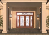 Custom Front Entry Door Glass , Colored Decorative Glass ...