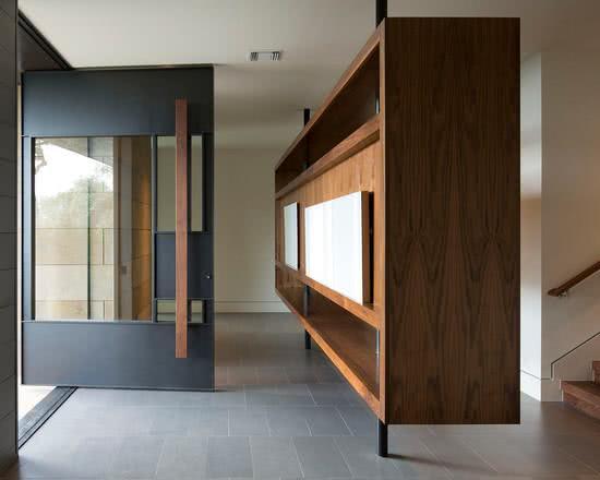 INTERIORS  bold black steel pivot door, lovely corridor, House M