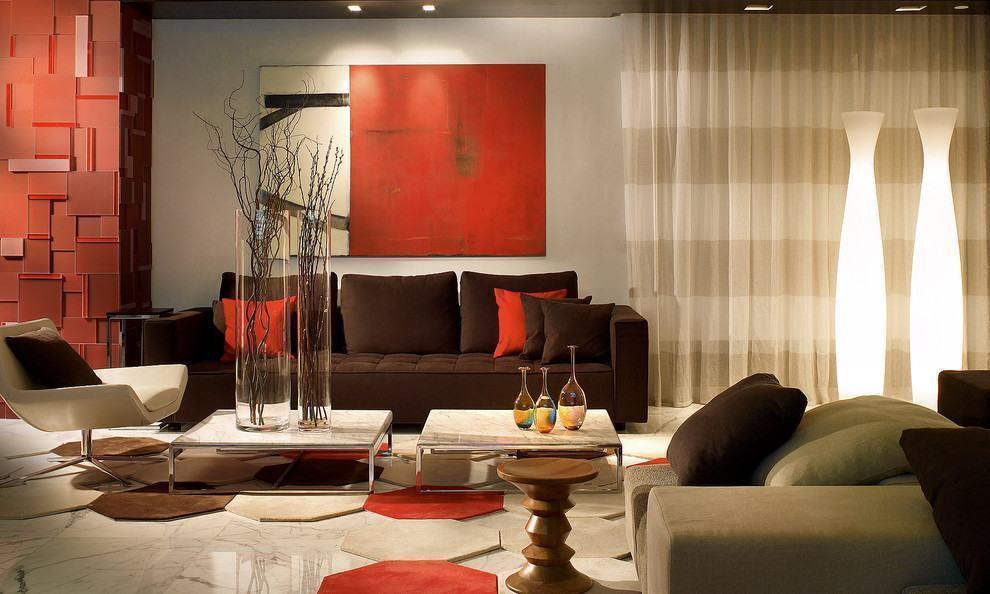 Sala Com Sofa Marrom 70 Modelos E Fotos Lindas