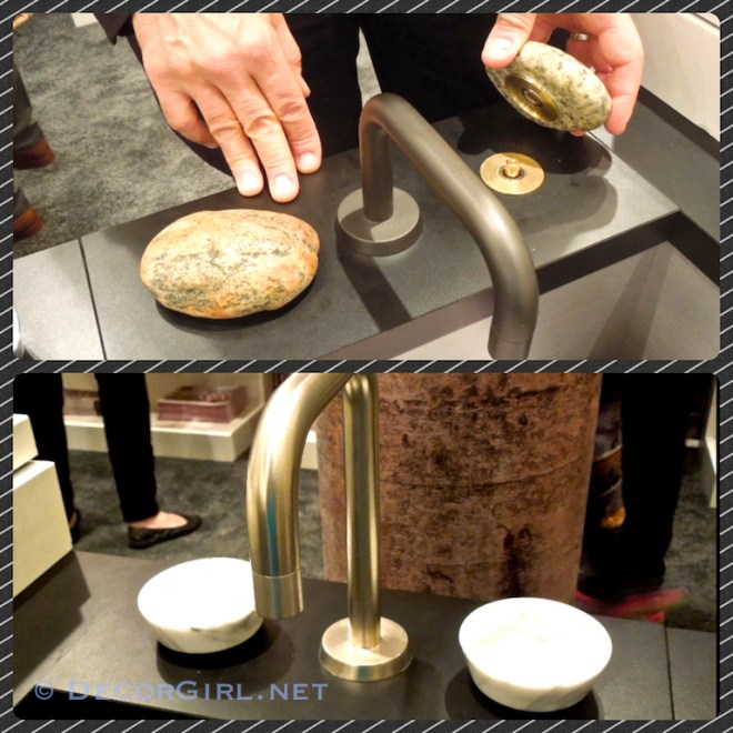 Faucet handles made from stone
