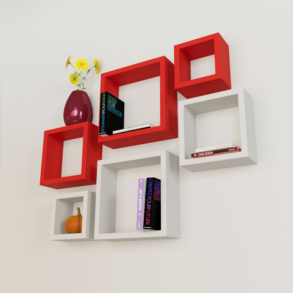 6 Nesting Square Wall Shelf Rack Unit Red White