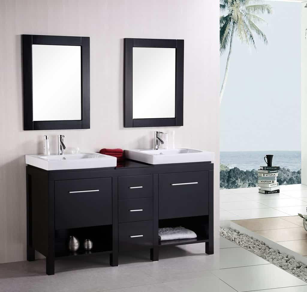 Design element new york double integrated porcelain drop in sink vanity set 60