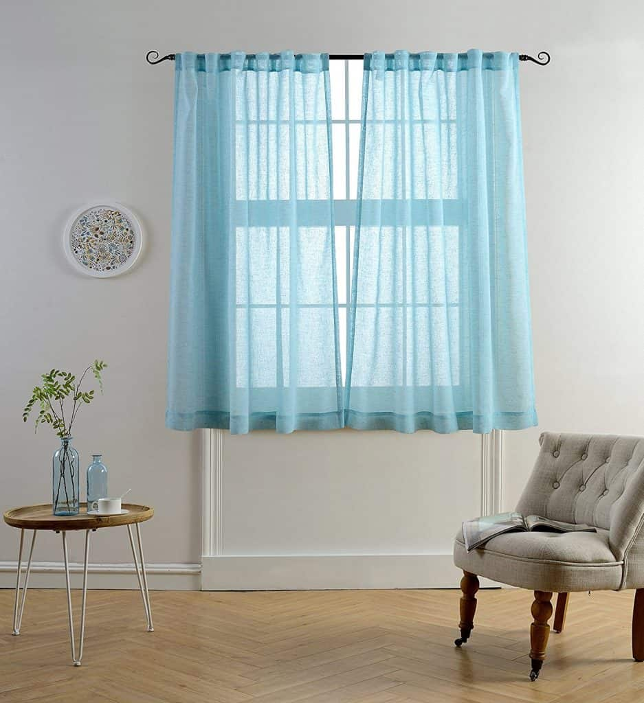 Mysky home faux linen back tab and rod pocket white melange window and door sheer curtains
