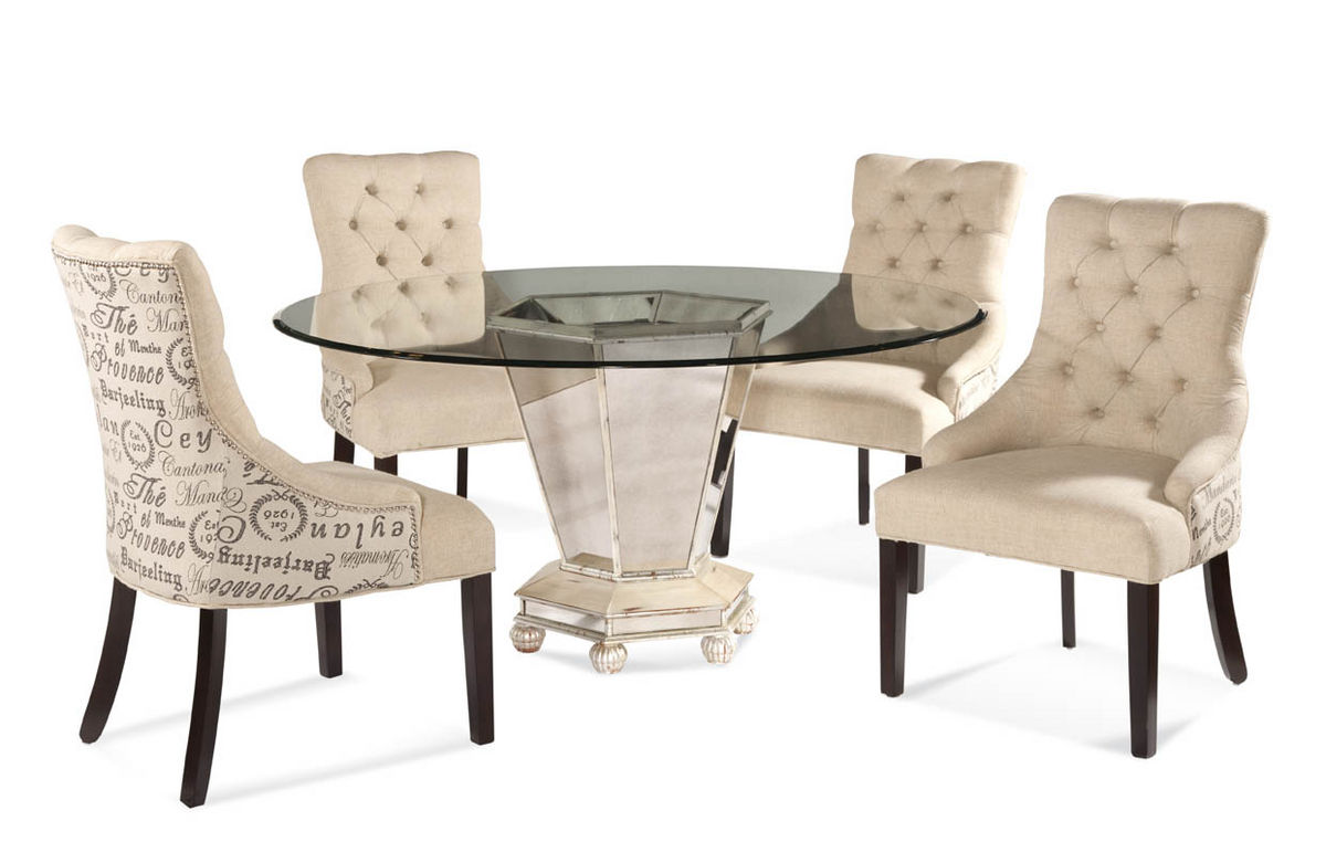 8 Chair Dining Room Set Reflections Dining Set with Script Fabric Chairs (Antique Silver & Mirror Finish) - [D2055-000 ...
