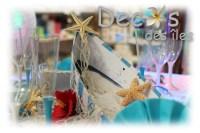 Dcoration table de mariage thme sable et coquillages