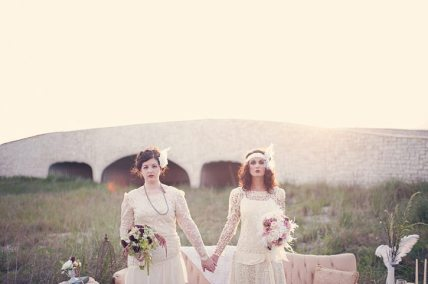 Vintage Beach Wedding || Two Brides