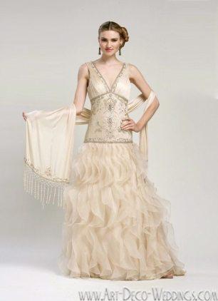 Sue Wong Ruffled Art Deco Gown W1414