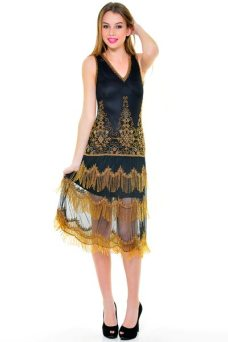 Black + Gold Flapper Bridesmaid Dress