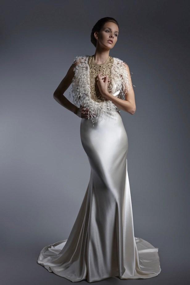 Feathered Satin Wedding Gown | Isabel Zapardiez