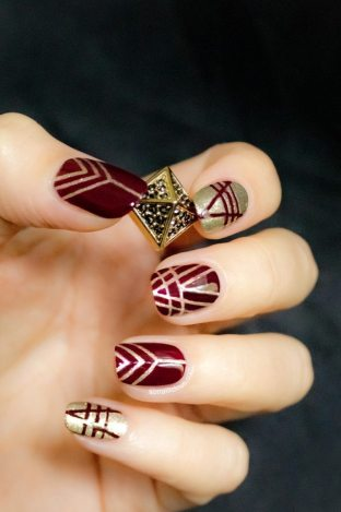 Red Art Deco Manicure