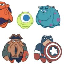 Minifiguras de Baymax, Mike, Sully, Davy Jones y Capitán América