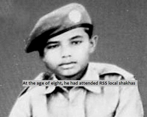 At the age of eight, he attended RSS shakhas
