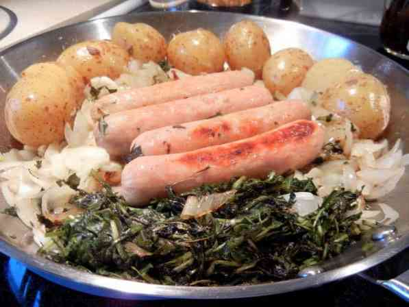 Dandelion GreensRecipe ~ Powerful Spring Tonic, sausage, onions and greens, spring tonic