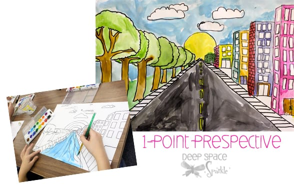 One-Point Perspective Art Lesson Deep Space Sparkle - artistic skills