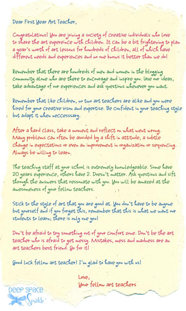 A Letter to a First Year Art Teacher Deep Space Sparkle