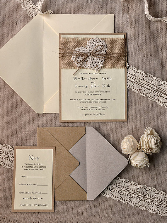 Rustic Burlap Heart Wedding Invitation kits Deer Pearl Flowers - rustic wedding invitation