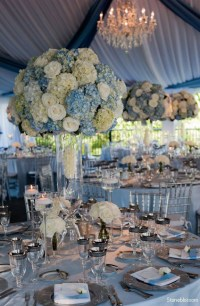 dusty blue and white hydrangea wedding decor ideas