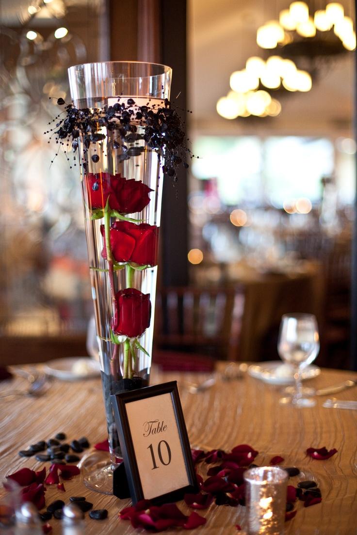 white red roses wedding centerpiece red black vampire halloween