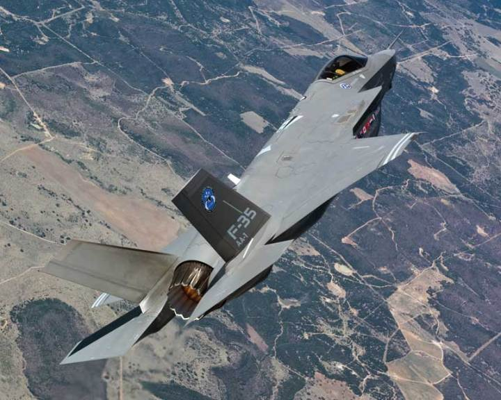 F-35A AA-1 on a test flight. For the Air Force, with the cancellation of the F-22, much is at stake in the F-35 program. Lockheed Martin photo by Liz Kaszynski