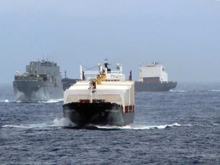MSC Maritime Prepositioning Ship Squadron Two vessels – MV CAPT Steven L. Bennett, front, an Air Force container ship; USNS Sisler, a large, medium-speed, rollon/roll-off ship; and MV LTC John U.D. Page, rear, an Army container ship – sail in close formation during a sortie in the Indian Ocean north of Diego Garcia in November 2008. U.S. Navy photo by GMC Harold Williams.