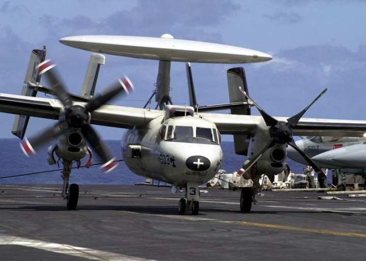 An E-2C Hawkeye from the Sunkings of Airborne Early Warning Squadron 116 (VAW-116) successfully recovers onboard USS Constellation (CV 64) with one engine after having an in-flight emergency May 28, 2003. U.S. Navy photo by Photographer's Mate 2nd Class Daniel J. McLain.