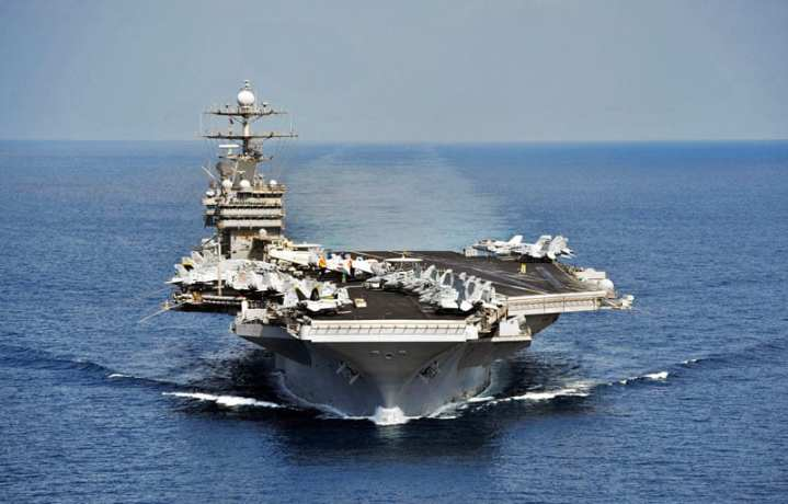The aircraft carrier USS Harry S. Truman (CVN 75) operates in the Arabian Sea in support of Operation Enduring Freedom. The Harry S. Truman Carrier Strike Group is deployed supporting maritime security operations and theater security cooperation efforts in the U.S. 5th Fleet area of responsibility. U.S. Navy photo by Mass Communication Specialist 2nd Class Kilho Park.