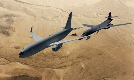 In the end, it appears the KC-46A's smaller size when compared to the competing KC-45 actually worked to its advantage, contributing to lower fuel burn and life-cycle costs. In this artist's conception, a Boeing KC-46A prepares to refuel a B-1B bomber in flight. Boeing Imagery