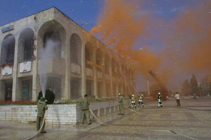 In Constanta, Romania, Romanian emergency responders douse a simulated burning building during a regional Civil Military Emergency Preparedness (CMEP) exercise. CMEP originated as a program within the Warsaw Initiative Funds (WIF). WIF was developed to assist former Warsaw Pact nations and newly independent former Soviet republics make the successful transition to democratic institutions following the breakup of the Soviet Union. CMEP has a 14-year history under the Warsaw Initiative with several events being hosted each year in partner nations. Many of the new member nations within North Atlantic Treaty Organization hosted CMEP events in the period prior to accession. Photo courtesy of the U.S. Army Corps of Engineers