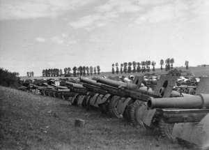 Captured Soviet artillery during Operation Barbarossa